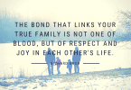 The bond that links your true family is not one of blood but of respect and joy in each others life. 145x100 - 36 Unforgettable Quotes About the Importance of Family
