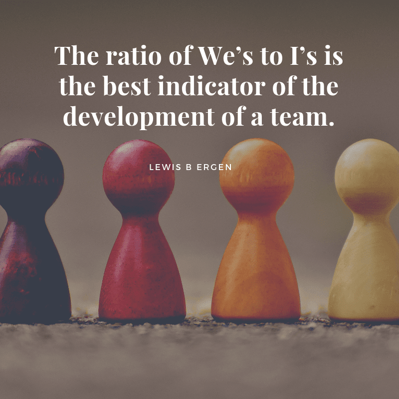 The ratio of We's to I's is the best indicator of the development of a team. - 70 Favorite Teamwork Quotes to Energize Your Employees