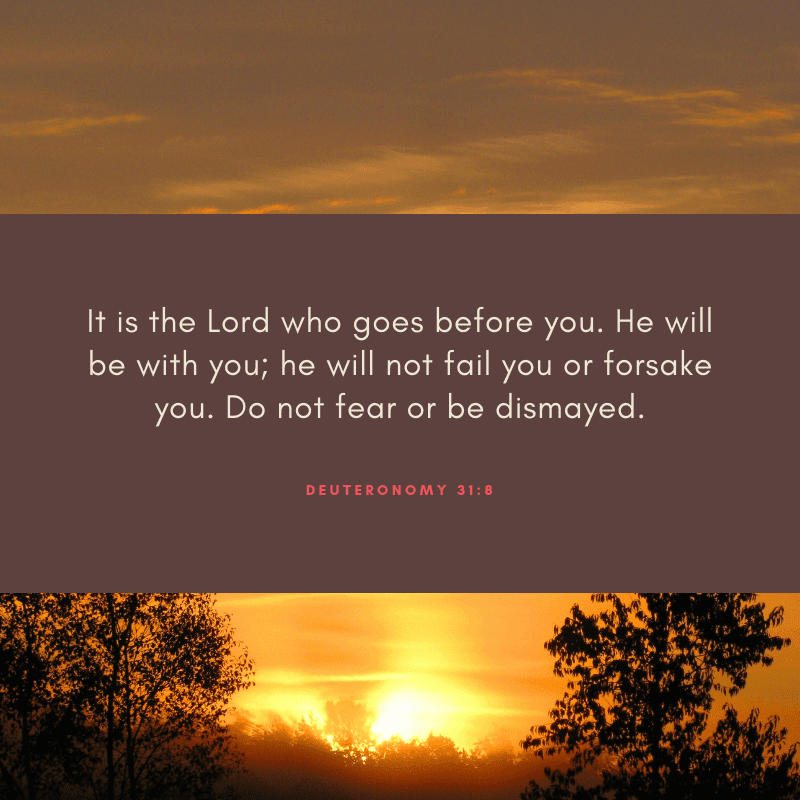 It is the Lord who goes before you. He will be with you he will not fail you or forsake you. Do not fear or be dismayed. - 52 Most Encouraging God's Quotes about Strength (from Bible)