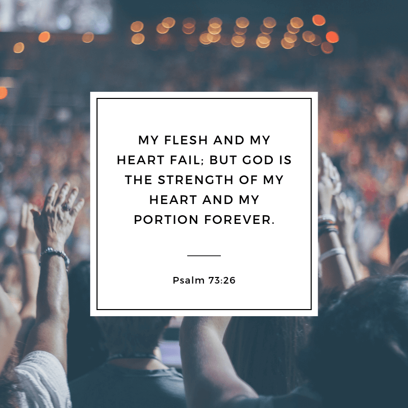 My flesh and my heart fail but God is the strength of my heart and my portion forever. - 52 Most Encouraging God's Quotes about Strength (from Bible)