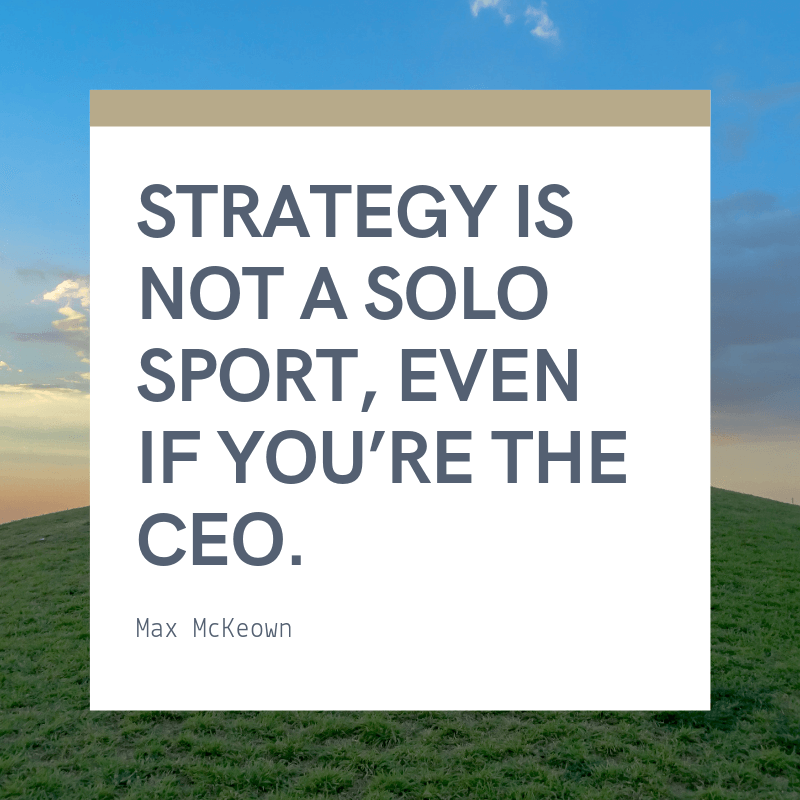 Strategy is not a solo sport even if you're the CEO. - 62 Motivating Quotes About Leadership and Teamwork for a Better Collaboration