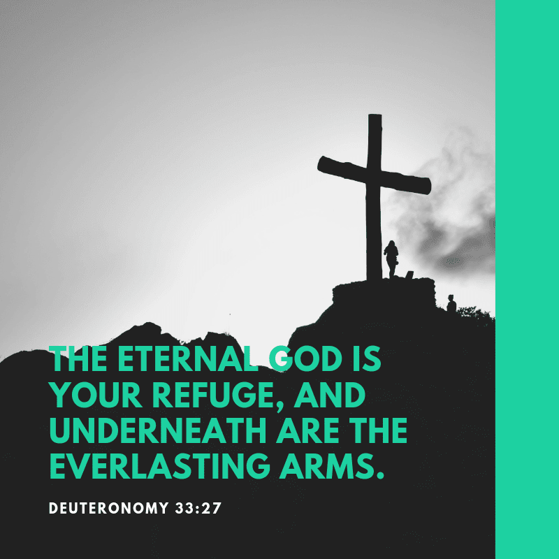 THE ETERNAL GOD IS YOUR REFUGE AND UNDERNEATH ARE THE EVERLASTING ARMS. - 52 Most Encouraging God's Quotes about Strength (from Bible)