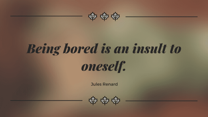 Being bored is an insult to oneself. - 45 Boring Life Quotes give You Motivation, Ideas, and Inspiration