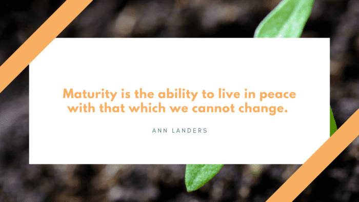 Maturity is the ability to live in peace with that which we cannot change. - 54 Maturity Quotes Help You Become a Mature Person