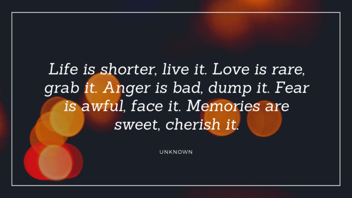 Life is shorter live it. Love is rare grab it. Anger is bad dump it. Fear is awful face it. Memories are sweet cherish it. - 20 Quotes about Cherish Memories for Giving Inspirations and Motivations