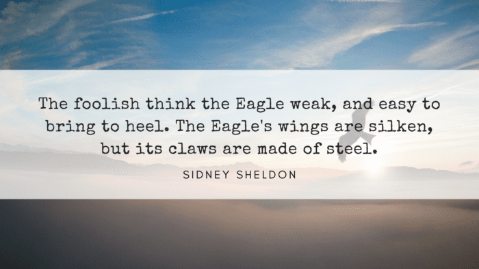 The foolish think the Eagle weak and easy to bring to heel. The Eagles wings are silken but its claws are made of steel. - 40 Eagle Quotes will Give you Life Lessons
