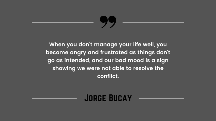 When you dont manage your life well you become angry and frustrated as things dont go as intended and our bad mood is a sign showing we were not able to resolve the conflict. - 21 Quotes About Bad Mood and Good Mood which will give you ideas on how to deal with it